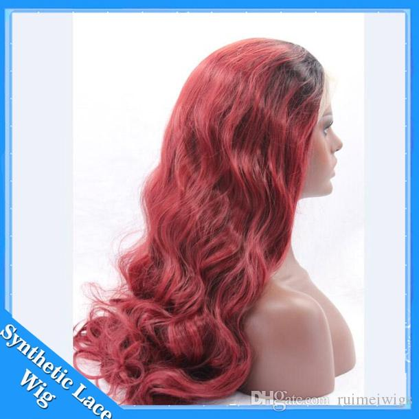 Black Ombre bug burgundy 99J body wave heat resistant synthetic lace front wig with baby hair natural hairline for black women Cosplay Wig