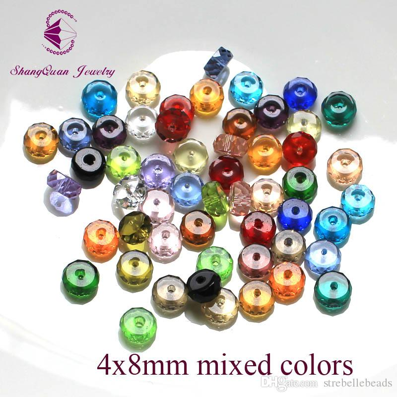 Multi Color Faceted Crystal Beads Loose Tyre Shape DIY 3A Jewelry Beads 4*8mm SQ3A2348