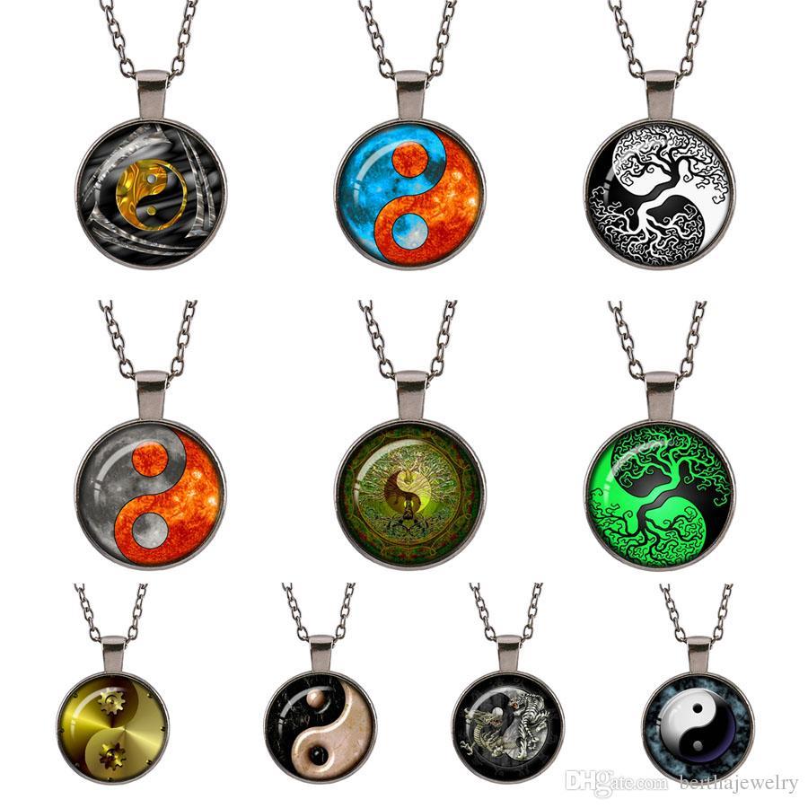 style vintage arbre vert de la vie Yin Yang Tai chi photo pendentif en verre tour de cou chaîne chandails charmes Gun noir pour les bijoux des femmes