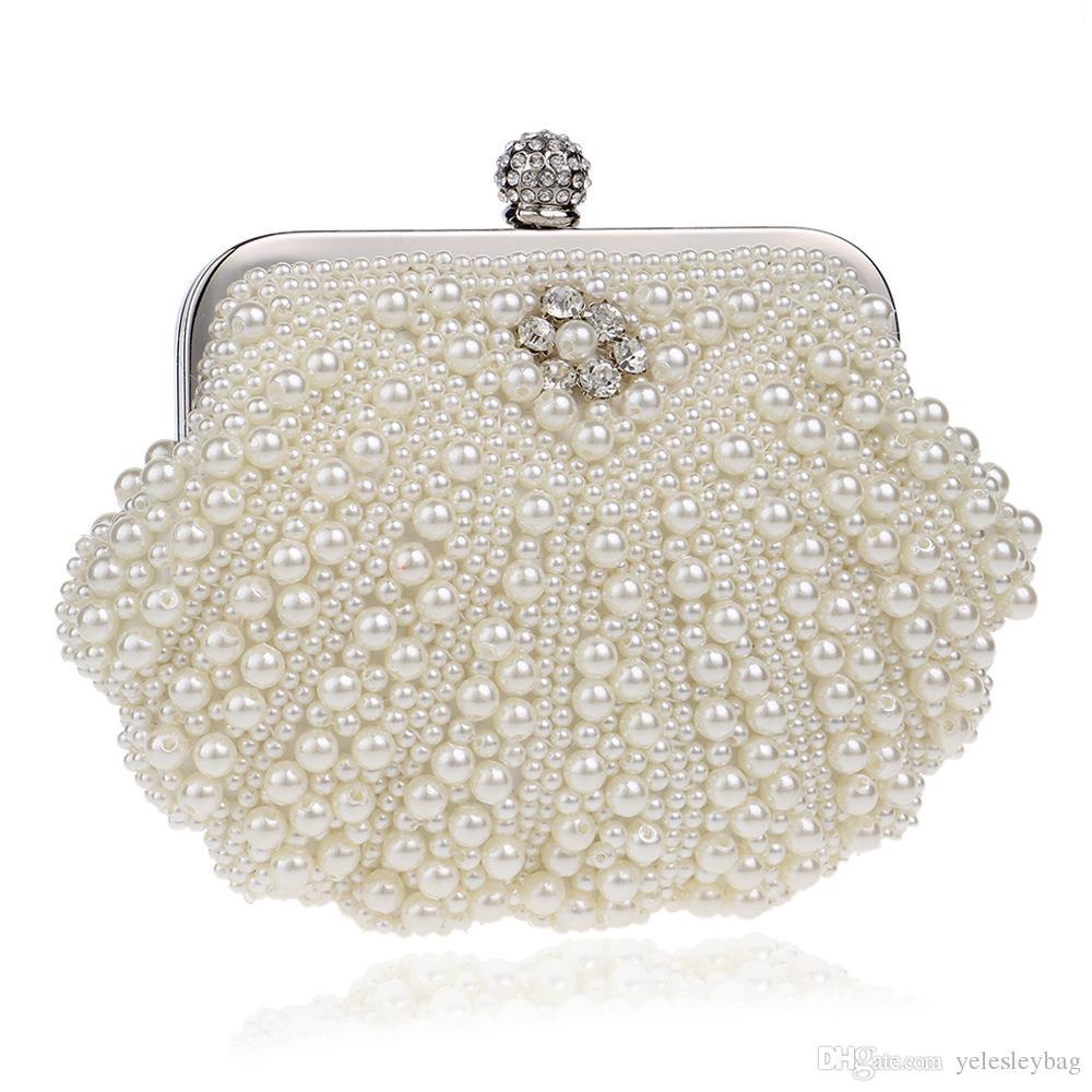 Womens Faux Pearl Cascading Bead Rhinestone Evening Clutch Fashion Purse Rhinestone Crystal Minaudiere Hard Mini Party Clutch Bags