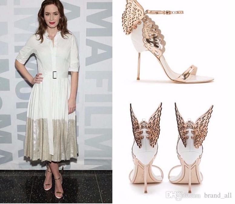 Wing Butterfly Sandals Damen Schuhe Lackleder High Heels Absatz Heels Party Pumps Süße Erstaunliche Alias Echte Bilder Größe 42