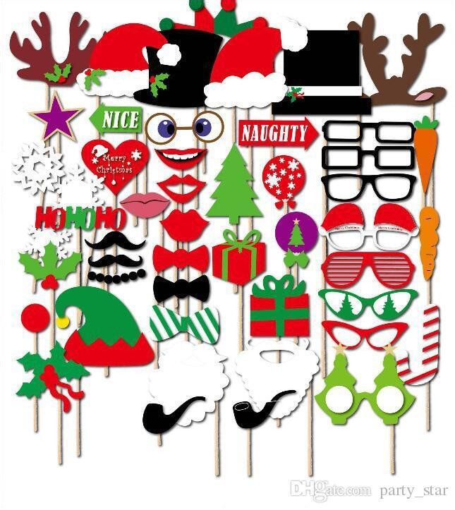 Christmas DIY Party Masks Set Photo Pipe Glasses Snowflake Christmas Hat On A Stick Party Decorations Favor Unisex Masks
