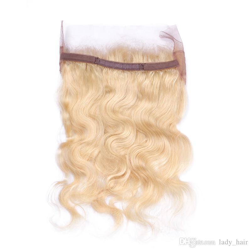 # 613 Russian Blonde 360 Lace Band Frontal con fasci di capelli biondi onda Wave con chiusura frontale in pizzo