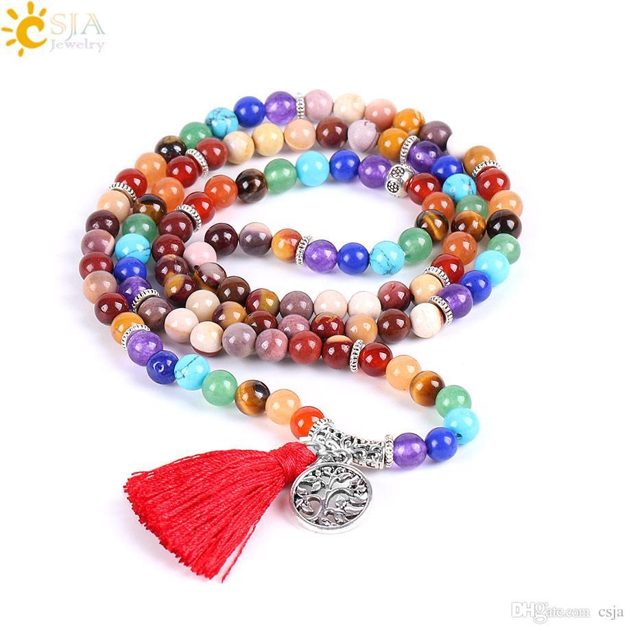CSJA 6mm Natural Egg Yolk Stone Beaded Bracelet Men Women Jewelry 108 Mala Beads Strand Wrap Long Bracelet Bangle Life Tree Pendant E656