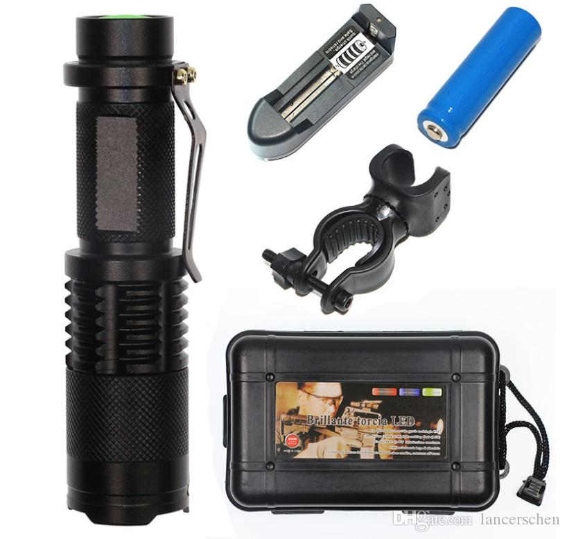 SK98 Mini Zoom 2000 Lumens bright CREE L2 led Zoomable LED Flashlight Torch light with 18650 Battery and charger