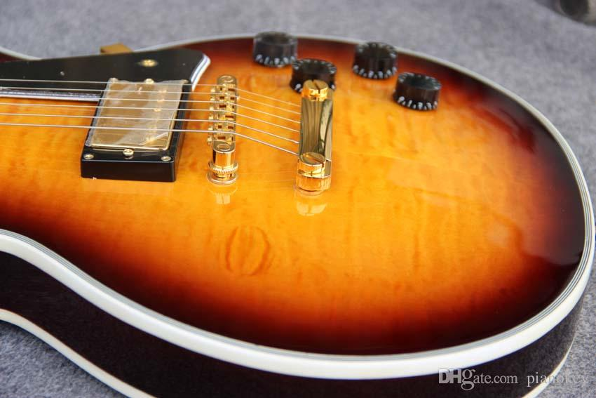 Wholesale manufacturers Sell Tobacco SunBurst Tiger Flame Top guitar, Custom Chinese Electric guitars