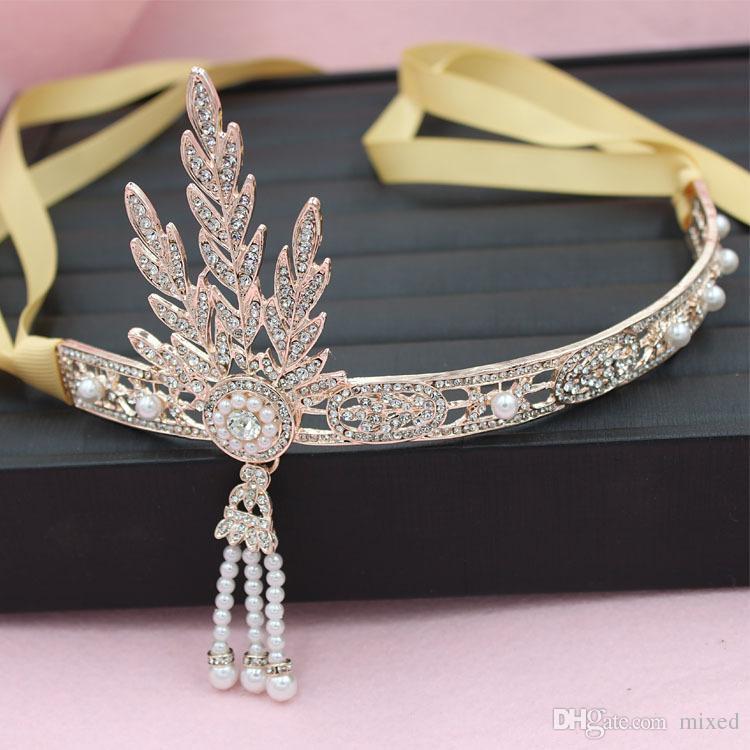The Great Gatsby Hair Accessories Crystals Pearl Tassels Hair Hoop Headband Hair Jewelry Wedding Bridal Tiara Hairband