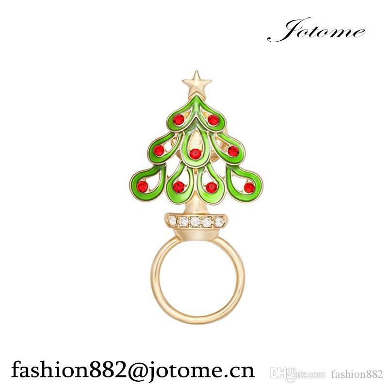 2017 China Wholesale Enamel Rhinestone Christmas Tree Clip Eyeglass Holder Holiday Brooch Pin Christmas Gifts