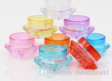 2g 3g 5g forma de diamante de colores envases de cosméticos vacíos tapón de rosca recipientes de muestra tarro de cuidado de la piel tarros de crema latas