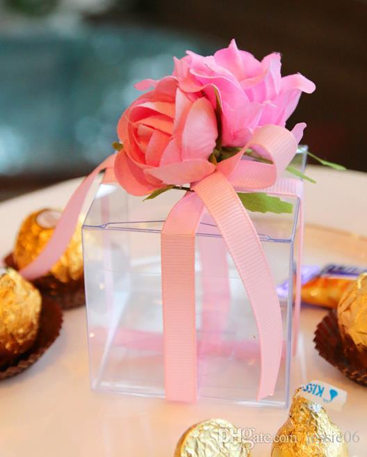Clear PVC Favour Boxes Wedding Birthday Party Candy Macaron Cake Engage Flower Ribbon Square Candy Box Christmas gift Gift wraps