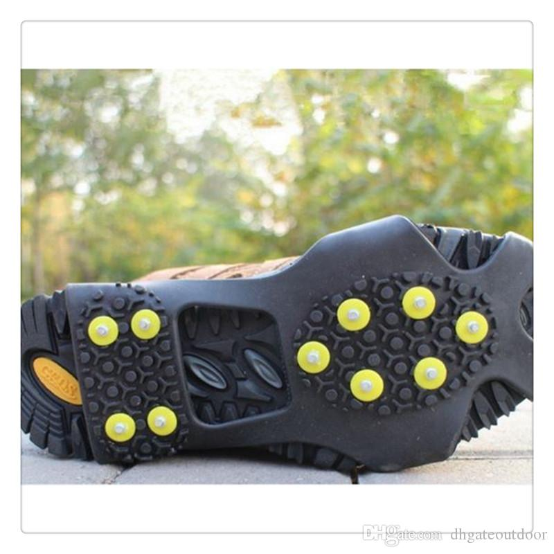 Ice Snow Grips Over Shoe Boot Traction Cleat Rubber Spikes Anti Slip 10 Stud Crampons Slip Ski Snow Hiking Climbing Stretch Footwear