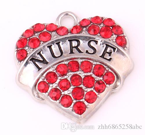 Alloy Mixed Crystal Nurse Pave Heart Charm Nurse Jewelry Making Accessories Women DIY Jewelry Rhodium Plated