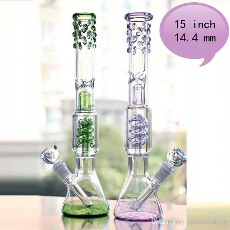 Pipes roxo e verde 15 '' Vidro alto Bongs 14,4 milímetros Joint Bong água Perc arrebatados Morto Recycle Oil Rigs Bong Caliane Em armazém