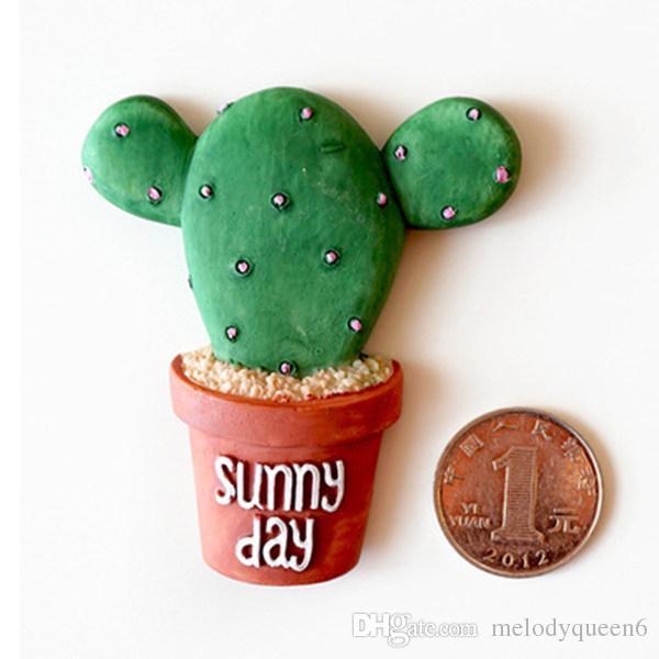 Hot New Succulent Cactus Fridge Magnet Plant Creative Resin Refridgerator lovely cactus three-dimensional magnetic stickers