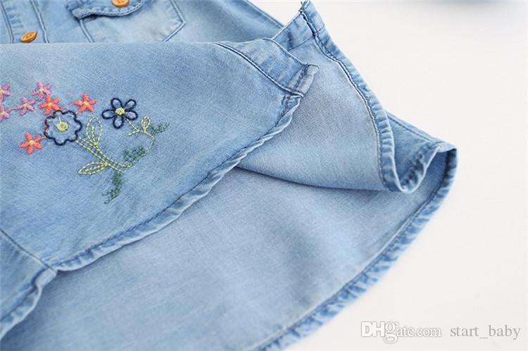 Girls Butterfly Floral Embroidered Denim Blouses Lovely Kids Button Pocket Fall Shirts B11