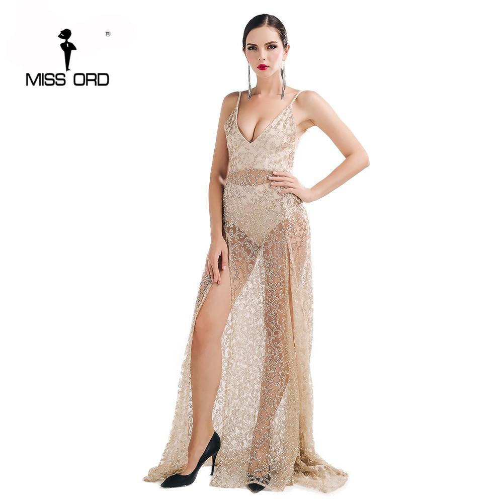 2019 Wholesale Missord 2017 Sexy Halter V Neck Split Party Dress Sequin  Maxi Dress FT5131 From Cacy 446c8a1c8