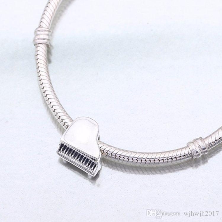 Authentic 925 Sterling Silver Bead Charm Vintage Cute Piano Beads Fit Women Pandora Bracelet Bangle DIY Jewelry Making Accessories