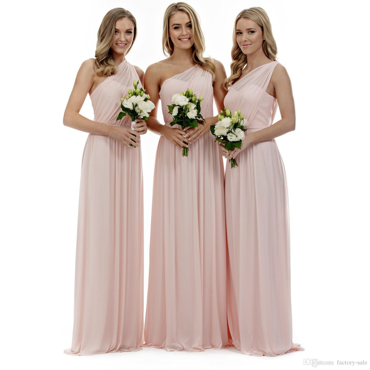 Blush Pink, un hombro, vestidos de dama de honor, una línea de gasa, pliegues, hasta el suelo, vestidos de dama de honor para las bodas campestres de verano