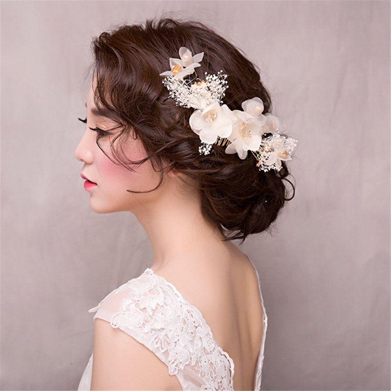 New Fashion High Quality Wedding Bridal Flowers Headwear Hay White Hair Combs Hair Accessories Suit Wreath Headdress Hair Jewelry 2017 Bridal Flower