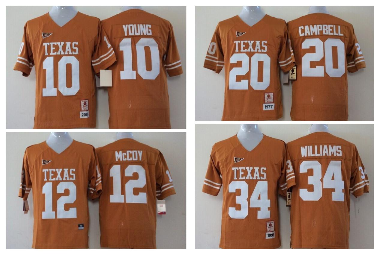 2017 Cheap Youth Texas Longhorns 34 Ricky Williams 12 Colt McCoy 20 Earl  Campbell 10 Vince Young Kids Boys Children College Football Jerseys 34  Ricky ... 15fd1a136