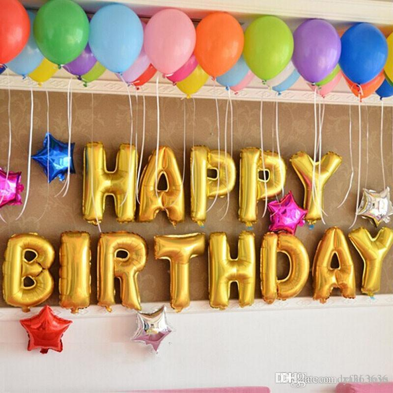 Gold Sliver Alphabet Letters Balloons Happy Birthday Party Decoration Toys Aluminum Foil Membrane Ballon Air Balloon Bouquets From