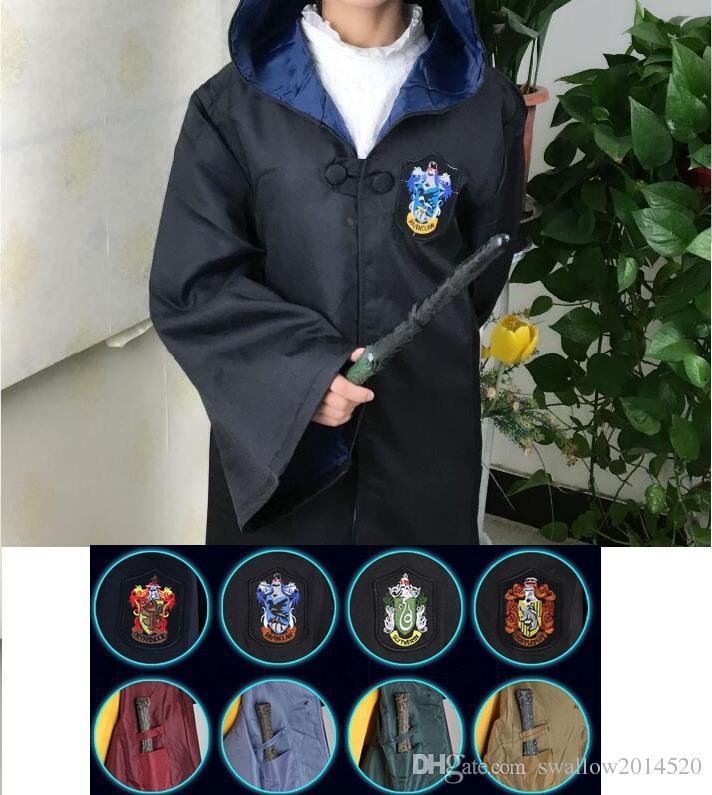 Free Shipping Harry Potter Cosplay Hogwarts Robe Cloak Gryffindor/Slytherin/Hufflepuff/Ravenclaw 4 House 10 Sizes Can Chose