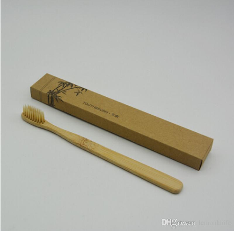 100 pezzi Spazzolini da denti in bambù personalizzati Tongue Cleaner Denti da denti denti Kit da viaggio Spazzolino da denti