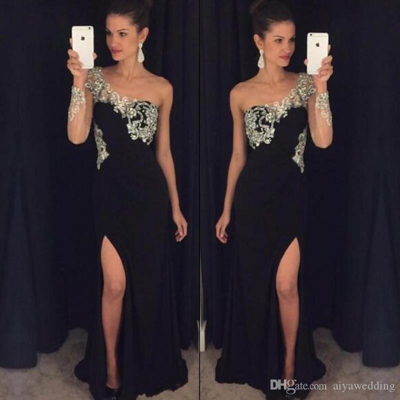 23e3bb39a95 New Black Long Prom Dresses 2019 One Shoulder Single Long Sleeves Floor  Length Side Slit Mermaid Beaded Evening Party Gowns Tutu Prom Dresses  Beautiful Prom ...