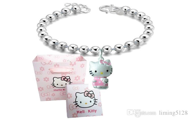 ed9f1b0ce S925 Sterling Silver Female Bracelet Hello Kitty Bracelet Girls Silver  Charm Bracelet Jewelry From Liming5128, $14.22| DHgate.Com