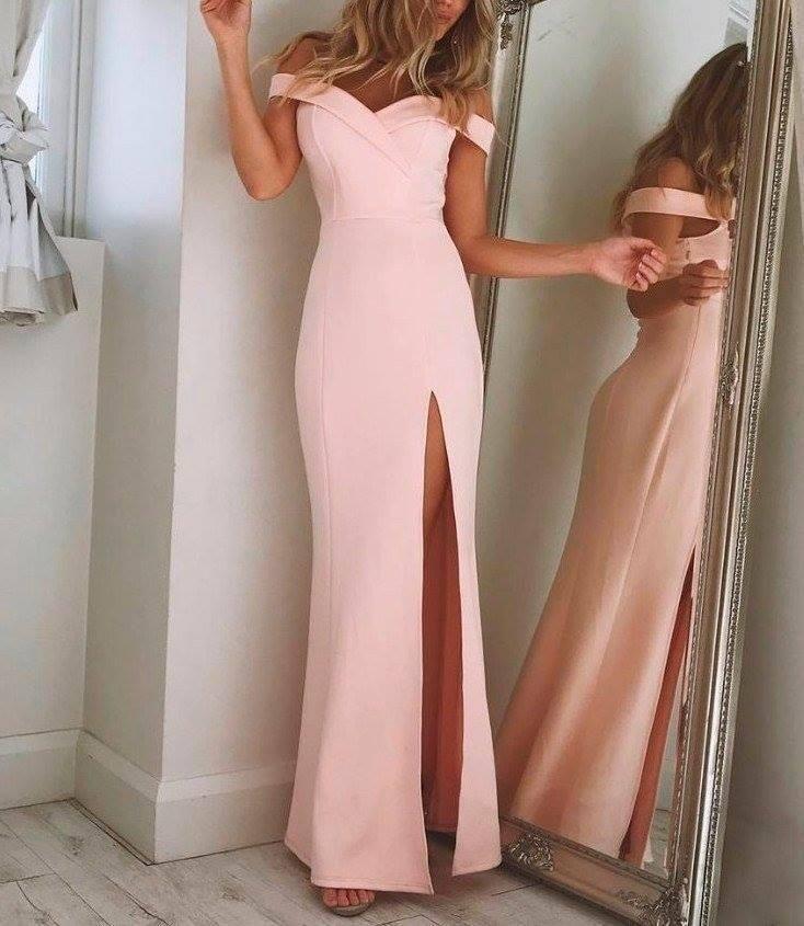 С плеча Простые элегантные платья выпускного вечера 2018 розовые длинные платья-представления с высоким разрезом бедра Уникальный дизайн Вечернее платье на заказ