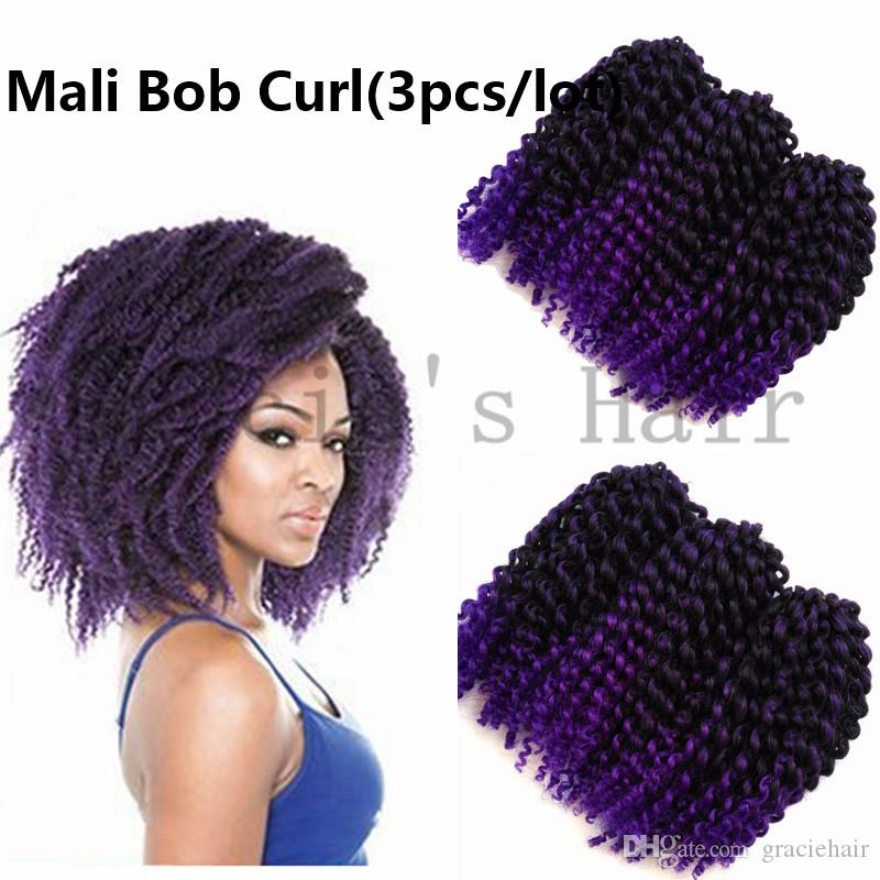 2018 Purple Two Tone Synthetic Ombre Hair Extensions Water Wave Mali