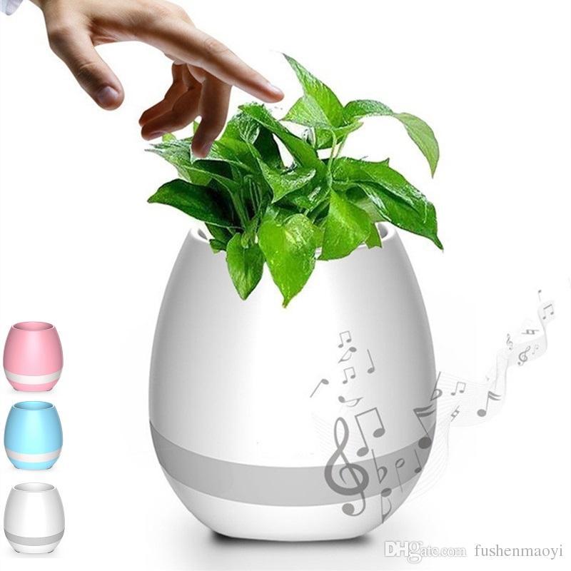 Nouveau Smart Music Flower Pot avec LED Lumière Bluetooth Haut-Parleur 2017 Tendance Produit Vert Plante Smart Touch Sensible Flowerpot DHL