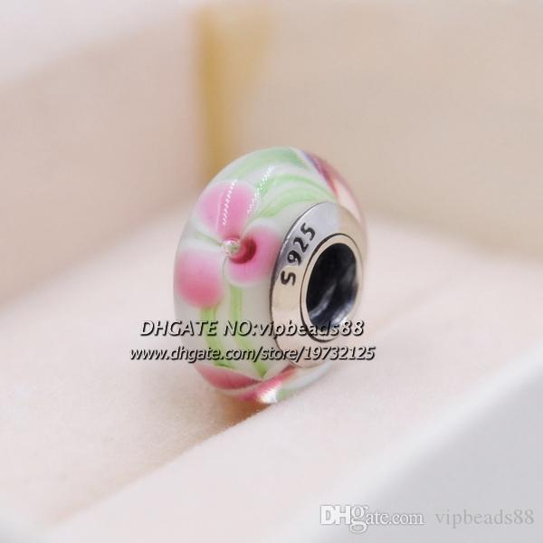 S925 gioielli in argento sterling verde rosa fiore in vetro di murano charms perline adatto europeo pandora bracciali fai da te collana