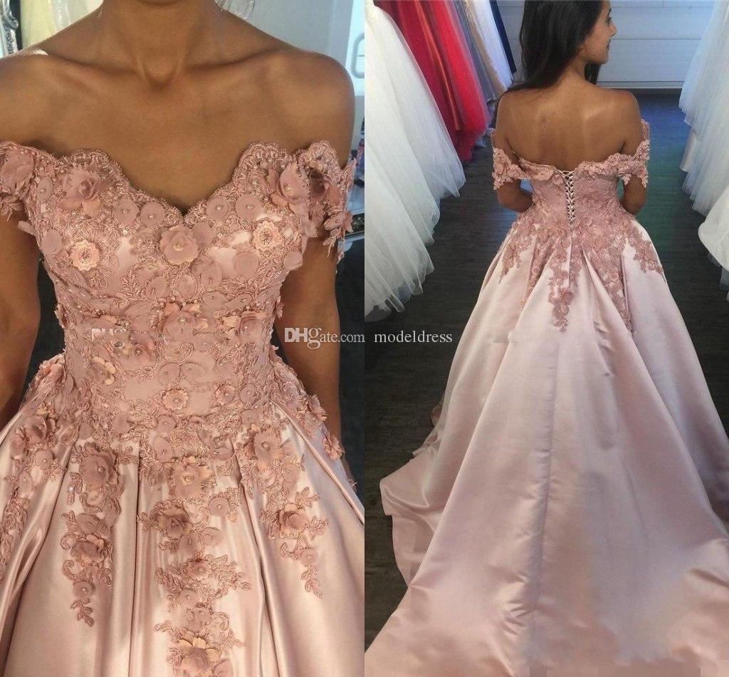 Modest Dusty Rose Prom Dresses 2017 Off Shoulder 3d