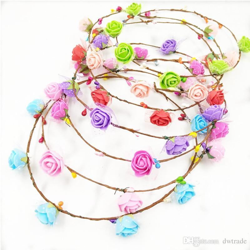 2017 girl bride boho flower headband for women floral head wreath women beach headband Floral Hair Garlands bohemia beach flower hair band