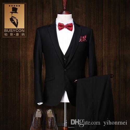 2018 costume homme mariage 2017 de marque trajes hombre formal black tuxedos for men suits. Black Bedroom Furniture Sets. Home Design Ideas