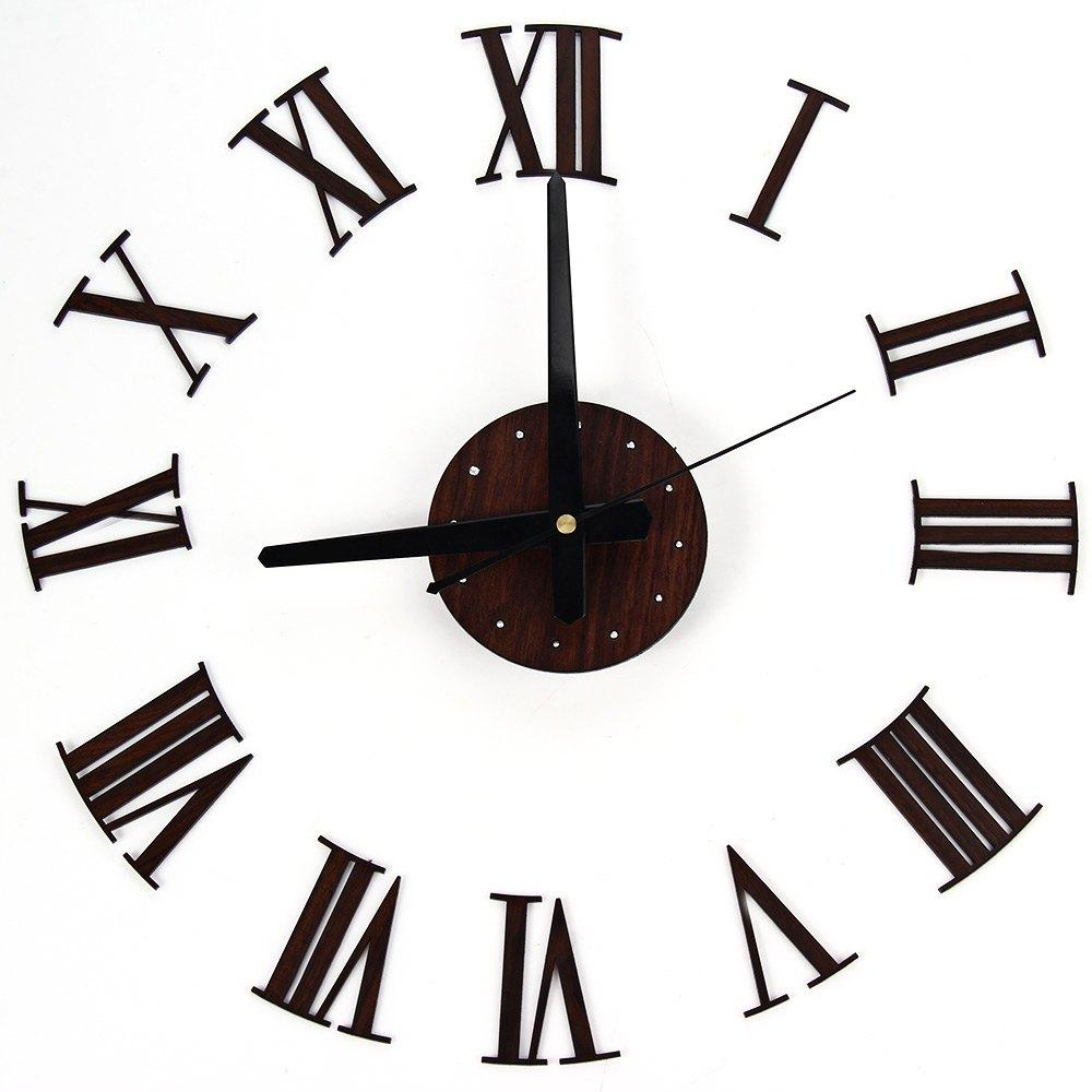 Wholesale Diy Vintage Wooden Wall Clock Roman Numerals Retro Vinyl