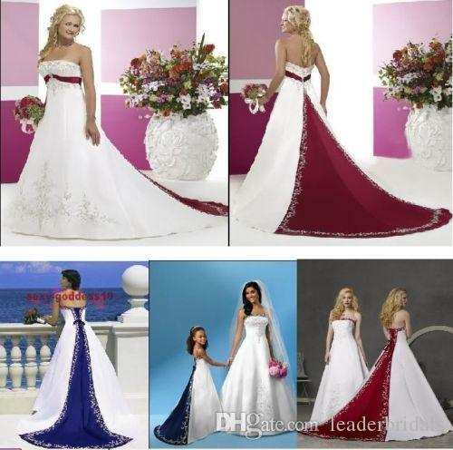 Discount New Wedding Dresses White Ivory Blue Green Purple Red Satin Embroidery Bridal Gown Plus Size Color Accent Lb733