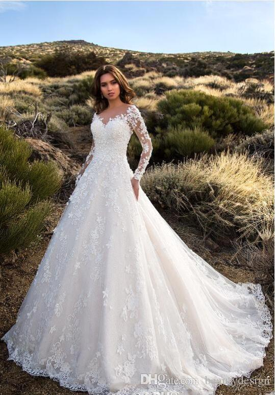 2018 Gorgeous Ivory Sheer Long Sleeves Wedding Dresses With Soft Applique Sexy Backless Lace Tulle Bridal Gowns Robe De Mariage