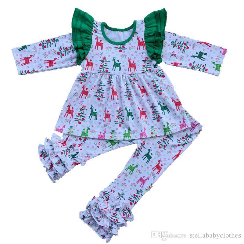 T-shirt primavera e autunno ragazze insieme pantaloni Ruffle Renna stampa abbigliamento ragazze di Natale Set Stella Boutique Clothing Set