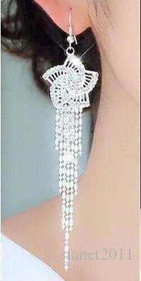 Elegante Damen baumeln Creolen Blume Quaste Strass baumeln Haken Ohrringe Modeschmuck Geschenke baumeln Ohrringe