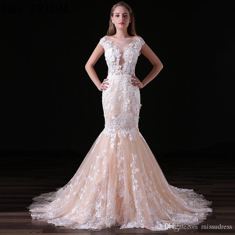 c97b98aafb6e Mermaid Wedding Dresses Real Photos Milla Nova Lace Appliques 3D Flowers  Custom Made Champagne White Ivory Bridal Gowns A020 Halter Neck Wedding  Dresses ...