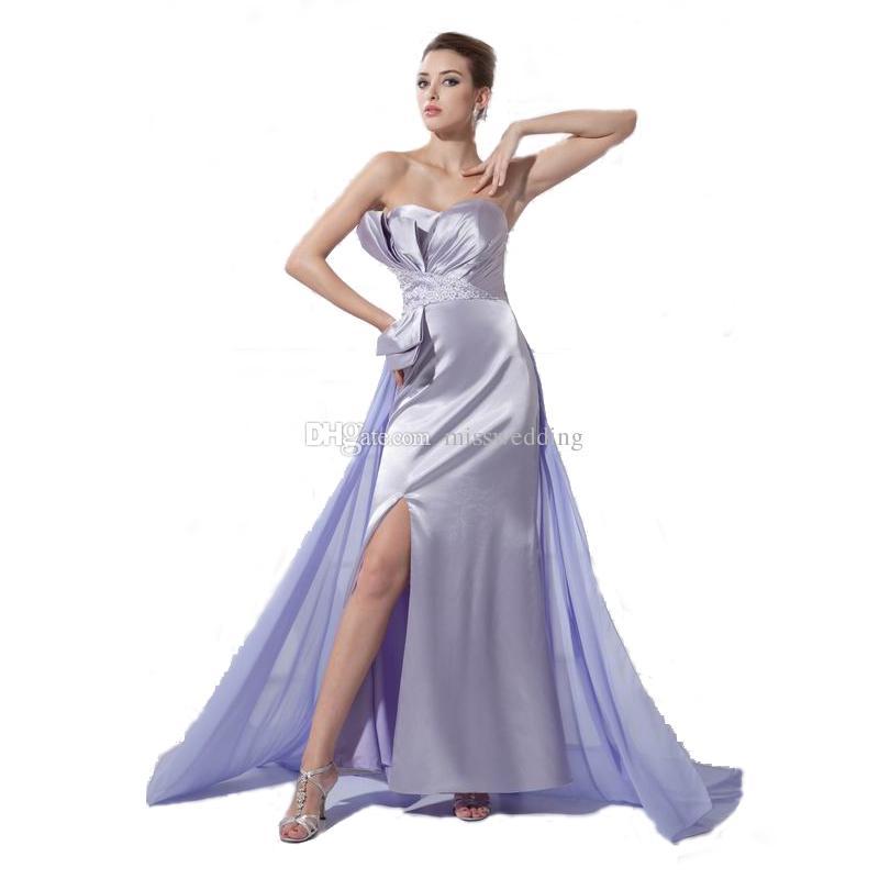 2ceef509b0cfc Special Occasion Women Dress Sexy Slit Silver Satin Evening Gown With  Lavender Train Good Quality Vestido De Novia Best Evening Gowns Black Maxi  Evening ...