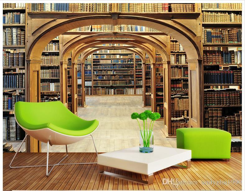 3D Photo Wallpaper Custom 3d Wall Murals Library Bookshelf