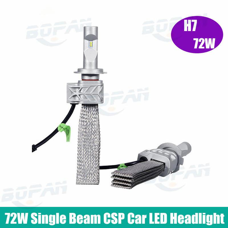 5S Partol CREE Chips 72W H7 Car LED Headlight Bulbs Conversion Kit 8000LM 6500K CSP Single Beam Auto LED Headlamp Driving Light