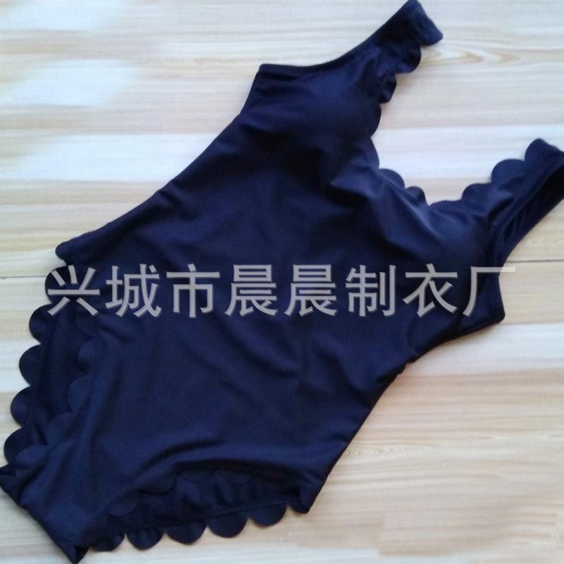 Frauen Scallop Trim One Piece Bademode Schwarz Weiß Rot Grün Badeanzug Monokini U-Ausschnitt Backless Sommer Bodysuit Strand Badeanzug