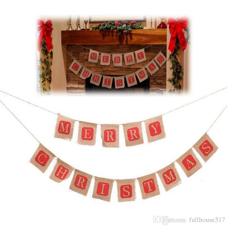 diy christmas flags merry christmas bunting sign vintage jute garland celebration banner handmade hessian rustic burlap bunting flags xmas decoration of - Merry Christmas Burlap Banner