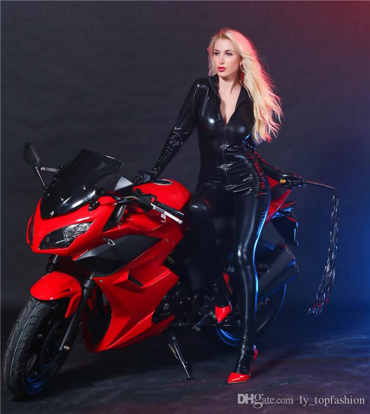 Mujeres Látex Catsuit Busto Abierto Traje Erótico Faux Leather Jumpsuit Porn Body Fetish Gothic Teddy Costume Para Mujer