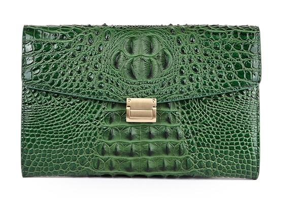 Top quality Women Clutch bags Imported Crocodile leather surface cow leather inner 28cm wide Envelope bags buisness casual all suitable