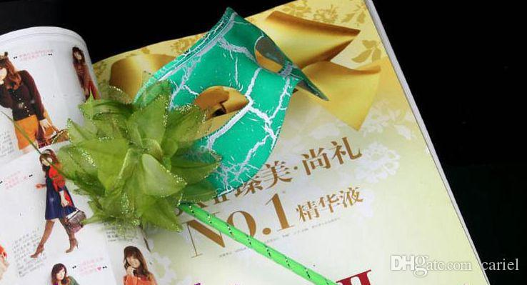 máscaras de fiesta lado de flor revestido Máscara de fiesta de mascarada veneciana en palo lado de flor a mano H57B